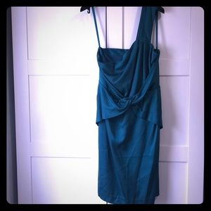 Banana Republic one shoulder emerald green dress.